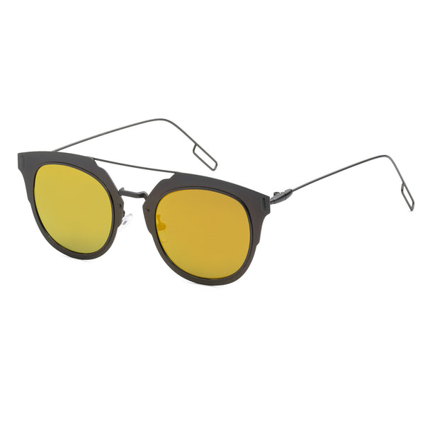 Mechaly Square Style Sunglasses with Gunmetal Frame & Orange Mirror Lens