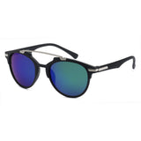 Mechaly Square Style Sunglasses with Black Frame & Blue Mirror Lens