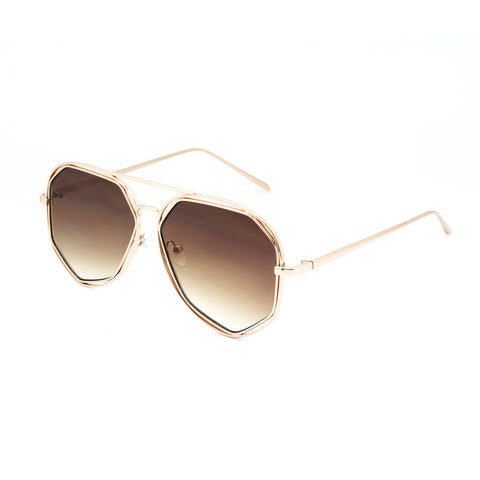 Mechaly Oval Style Sunglasses with Rose Gold Frame & Brown Lens