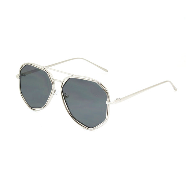 Mechaly Oval Style Sunglasses with Silver Frame & Black Lens