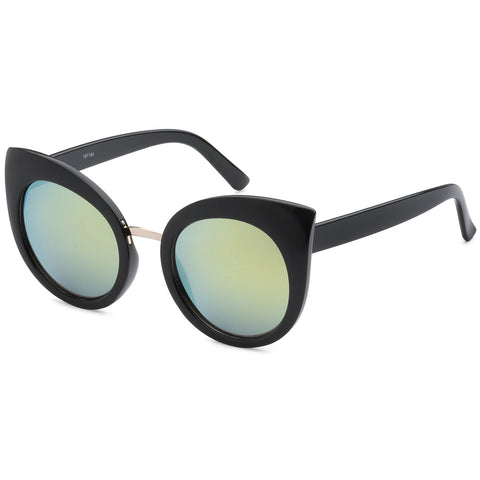 Mechaly Cat Eye Style Sunglasses with Black Frame & Green Mirror Lens
