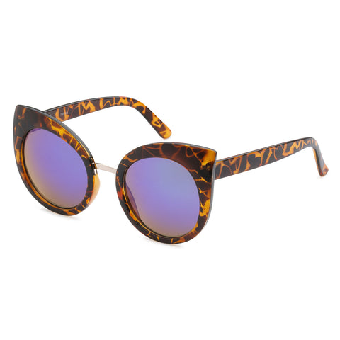 Mechaly Cat Eye Style Sunglasses with Tortoise Frame & Blue Mirror Lens