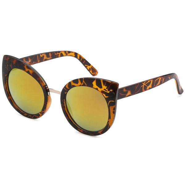 Mechaly Cat Eye Style Sunglasses with Tortoise Frame & Orange Mirror Lens