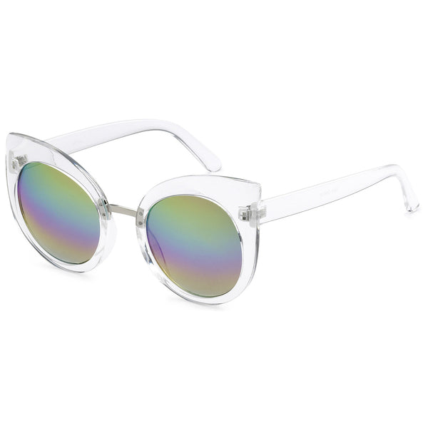 Mechaly Cat Eye Style Sunglasses with Clear Frame & Mirror Lens