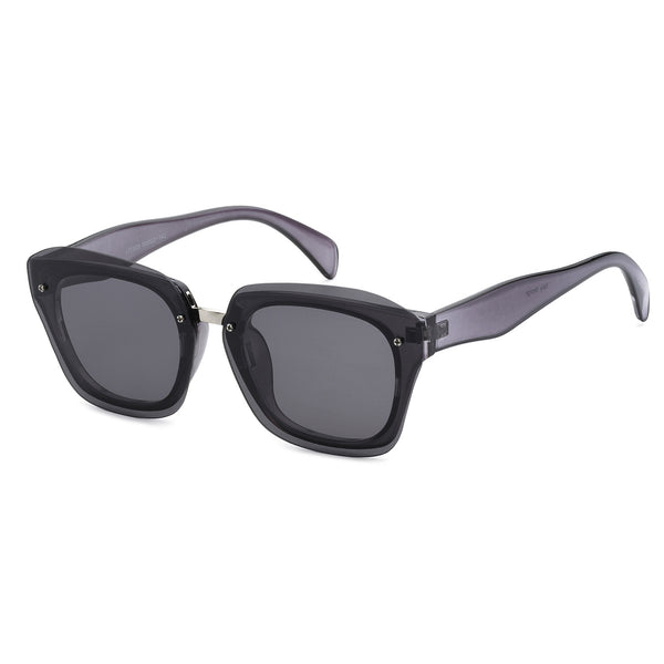 Mechaly Square Style Sunglasses with Black Frame & Black Flat Lens