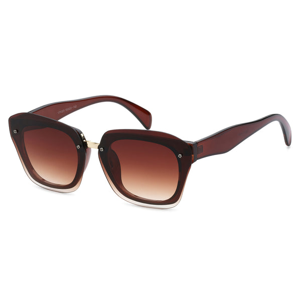 Mechaly Square Style Sunglasses with Brown Frame & Brown Flat Lens
