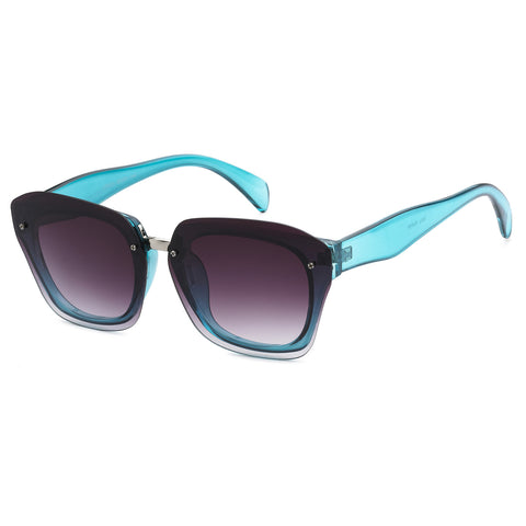 Mechaly Square Style Sunglasses with Blue Frame & Black Flat Lens