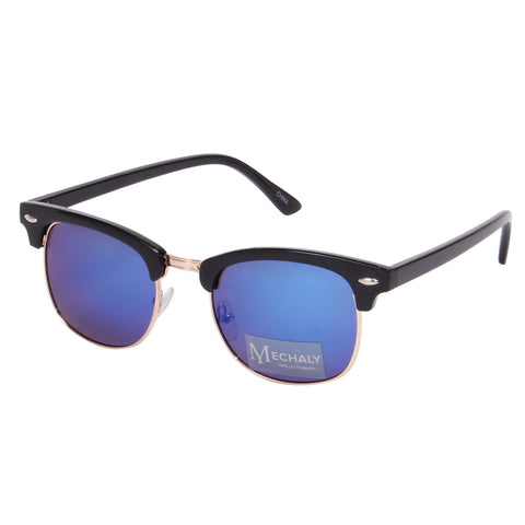 Mechaly Clubmaster Style Black Sunglasses with Blue/Green Mirror Lenses