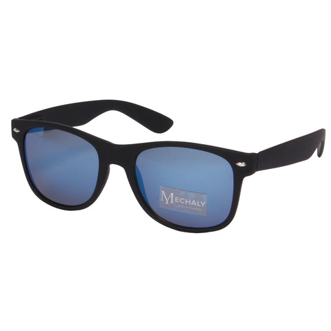 Mechaly Wayfarer Style Black Sunglasses with Blue Mirror Lenses