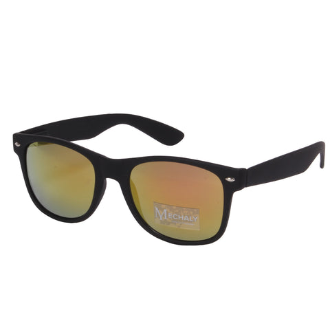 Mechaly Wayfarer Style Black Sunglasses with Yellow Mirror Lenses