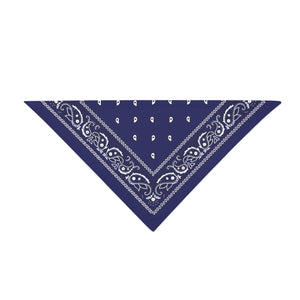 Triangle Bandana - Navy Blue Paisley