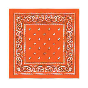 Square Bandana - Neon Orange Paisley