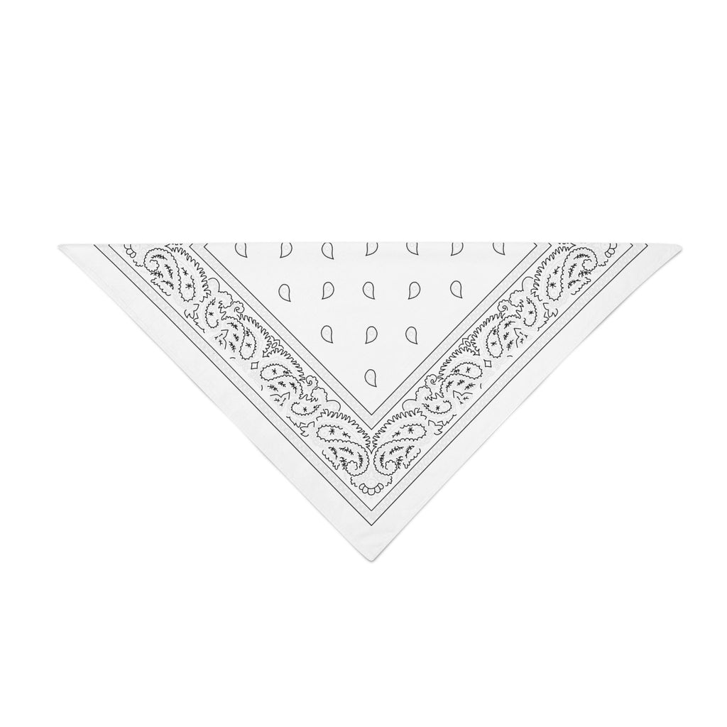 Triangle Bandana - White Paisley