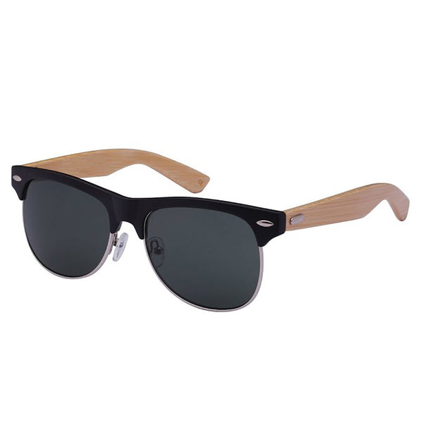 Mechaly Clubmaster Style Bamboo Sunglasses