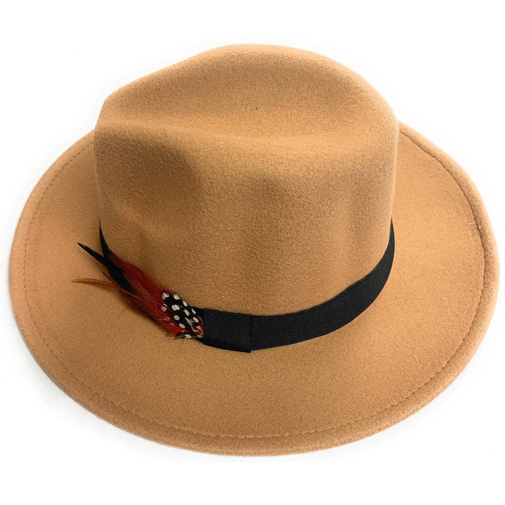 Mechaly Women's Feather Beige Fedora Vegan Hat