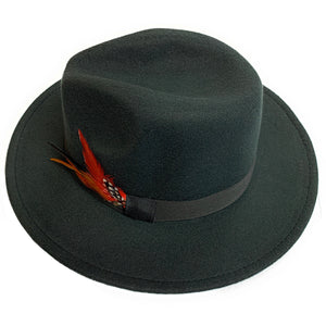 Mechaly Women's Feather Black Fedora Vegan Hat