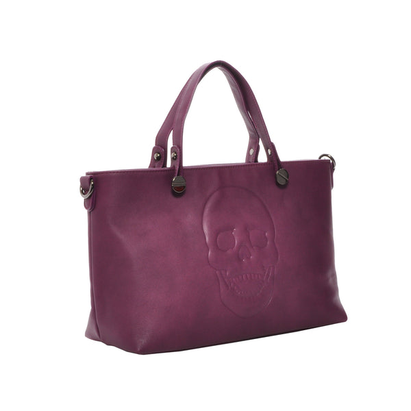 Mechaly Women's Skully Plum Wine Vegan Leather Skull Handbag