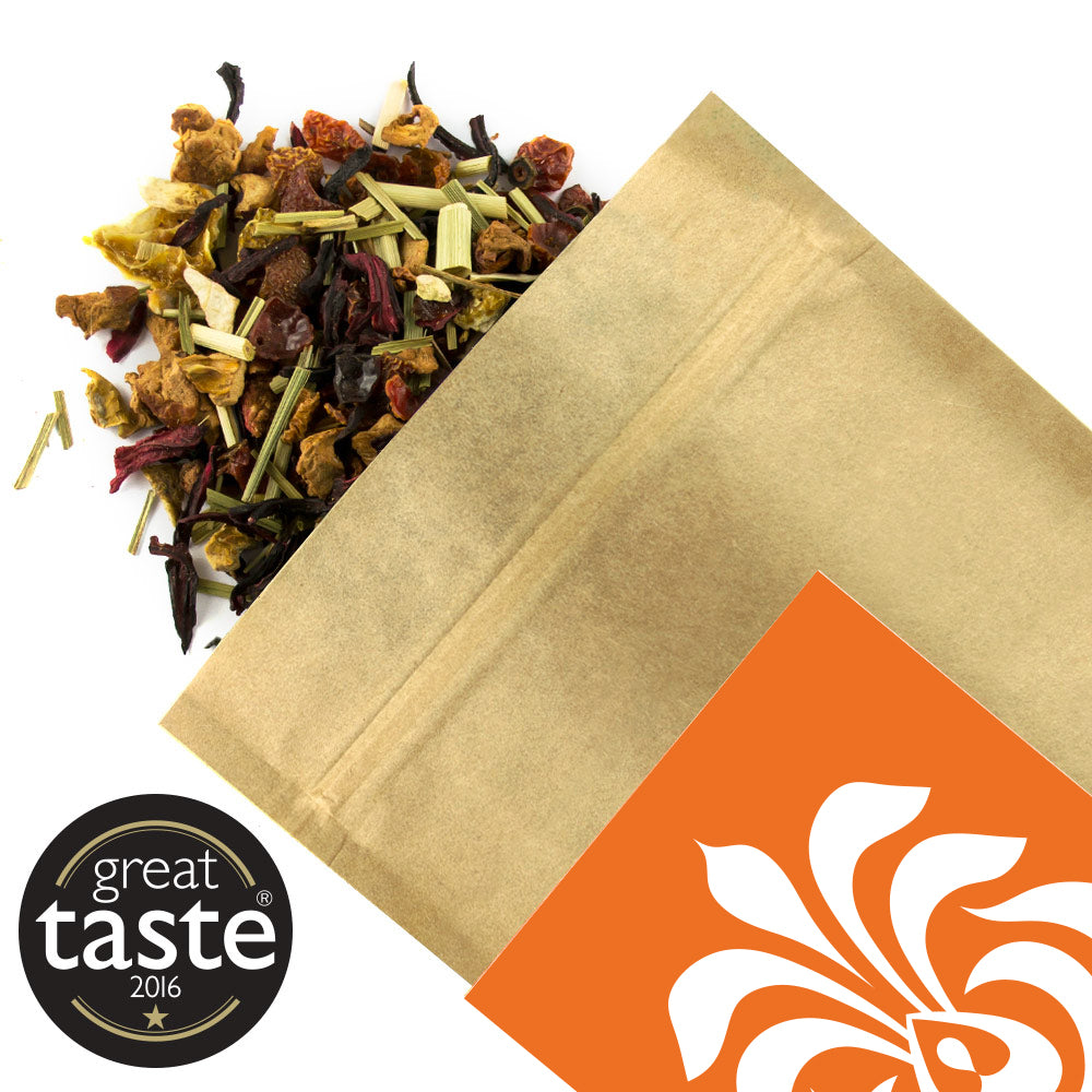 Apple Grapefruit Organic Loose Leaf Tea Shirt Tailored Refreshment caffeine-free herbal infusion