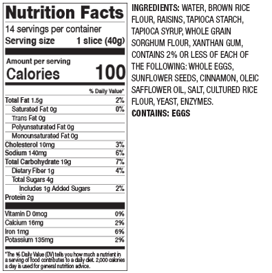 Gluten Free Cinnamon Raisin Nutrition Facts