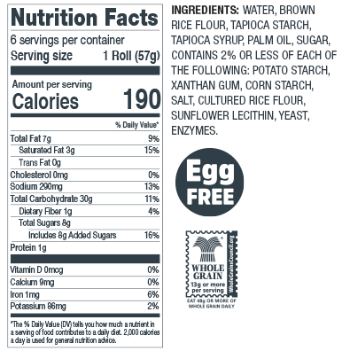 Gluten Free Dinner Rolls Nutrition Facts