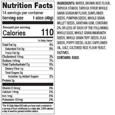 Gluten Free Great Seed Nutrition Facts