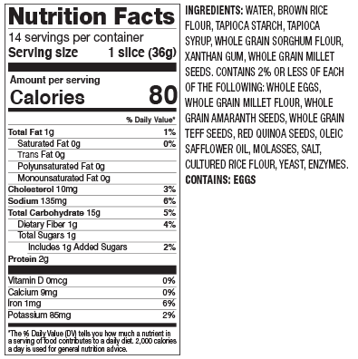 Gluten Free Seven Grain Nutrition Facts