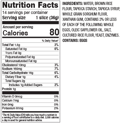 Gluten Free White Nutritional Facts
