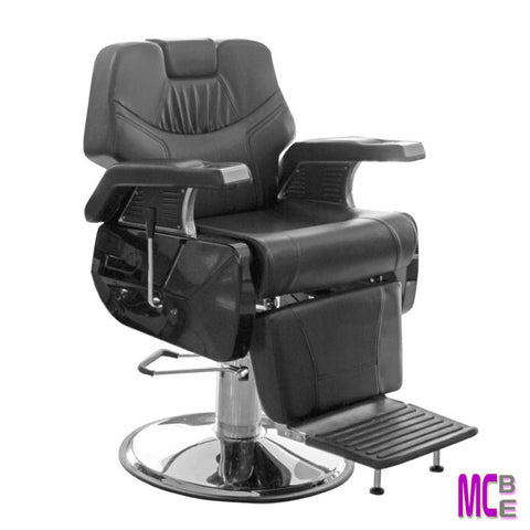 Durable barber chair partial chrome arm rest.