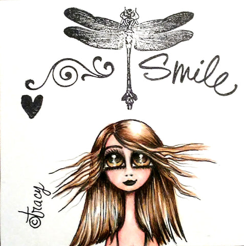 "Folding Card with Envelope-""Smile; Brown Haired Girl with Dragonfly"""