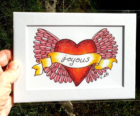 "Art Print with Mat-""Pink Wings Joyous Red Heart"""
