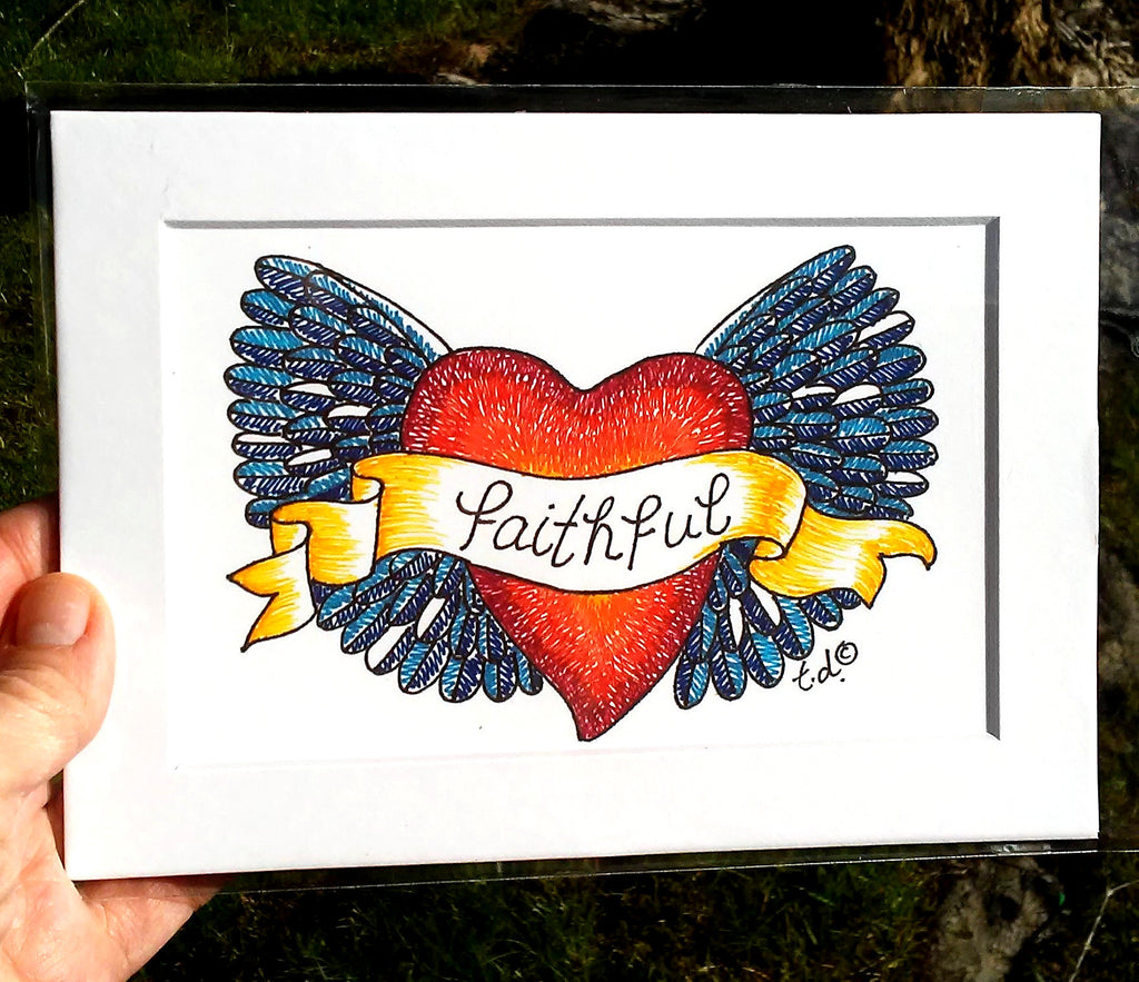 """Blue Faithful Heart Wings"" 5""x 7"" matted print of drawing by Tracy."