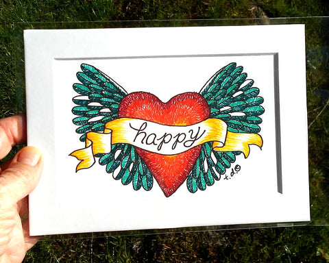 """Green Happy Heart Wings"" 5""x 7"" matted art print of drawing by Tracy."
