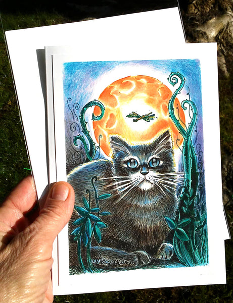 "Folding Card with Envelope-""Black Cat and Dragonfly in the Orange Moonlight"""
