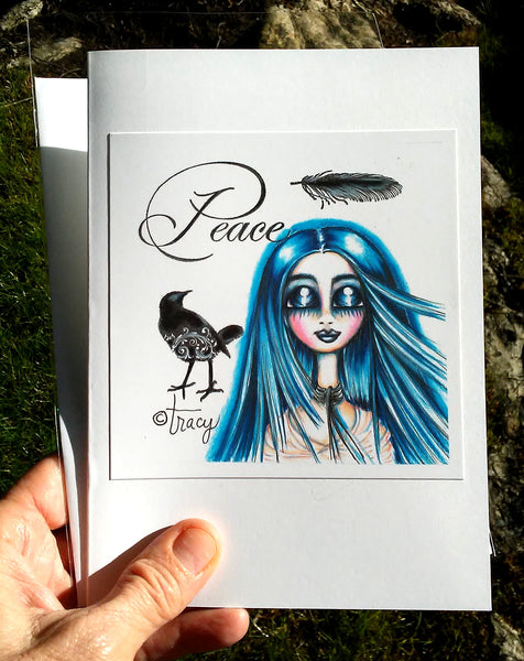 "Folding Card with Envelope-""Blue Peace Angel Girl"""