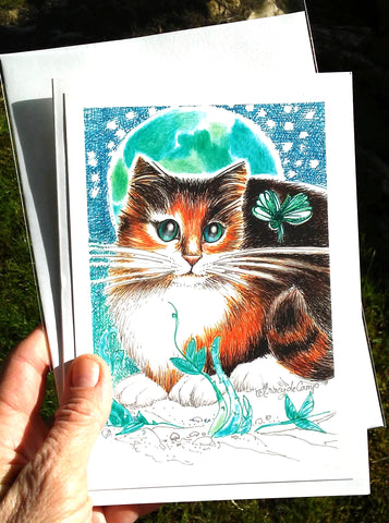 "Folding Card with Envelope-""Calico Cat Dragonfly Green Moonlight"""