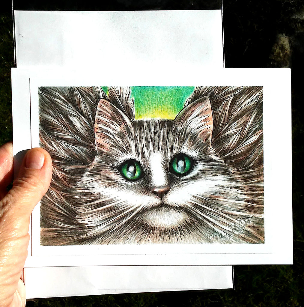 "Folding Card with Envelope-""Angel Cat"""