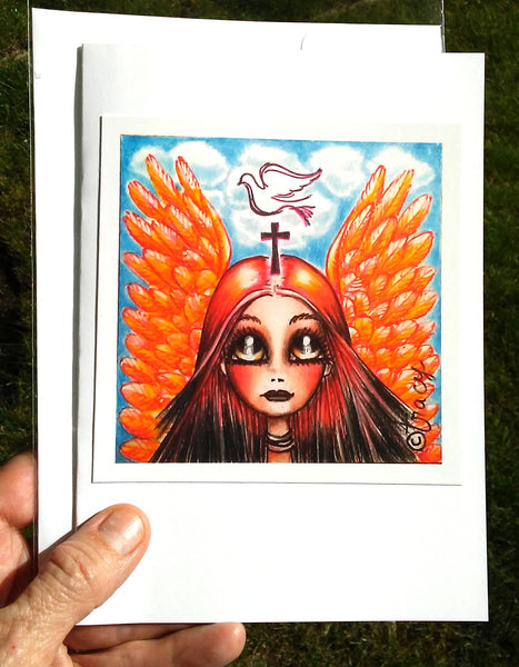 "Folding Cards with Envelopes-""Orange Angel with Holy Spirit Dove, Cross"""