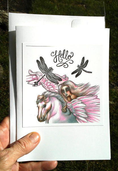 "Folding Card with Envelope-""Hello; Dragonflies Winged Horse Pink Haired Girl"""