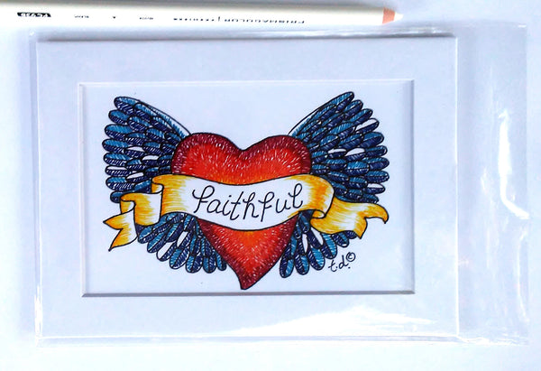 "Art Print with Mat-""Blue Faithful Heart Wings"""