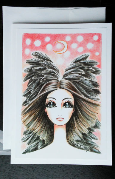 "Folding Card with Envelope-""Pink Brown Angel Moon"""