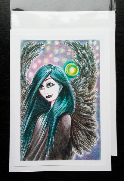 "Folding Card with Envelope-""Green Haired Dark Winged Angel with Spirit Orb"""
