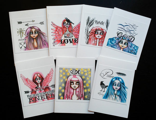 "Folding Card with Envelope-""GOD; Blue Haired Girl with Birds"""