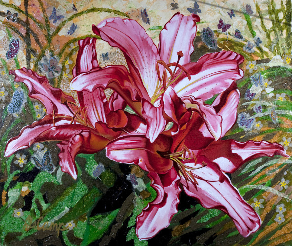 "Asiatic Daylilies - Oil and mixed media on canvas 60""x50"""