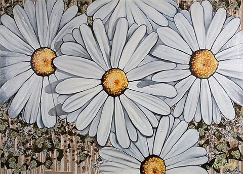 "Daisies - Oil and mixed media on canvas 40""x40"""