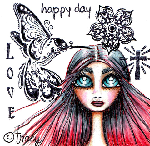 "Folding Cards with Envelope-""Happy Day Hummingbird Love Cross Red Head"""