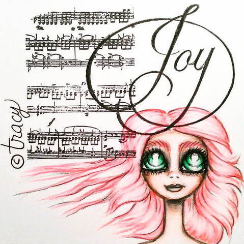 "Folding Card with Envelope-""Pink Haired Joy"""