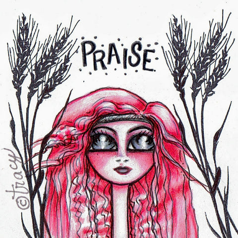 "Folding Card with Envelope-""Praise; Pink Haired Girl"""