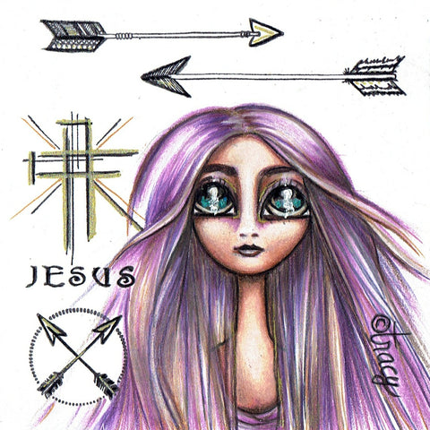 "Folding Card with Envelope-""JESUS; Cross Arrows Purple Haired Girl"""
