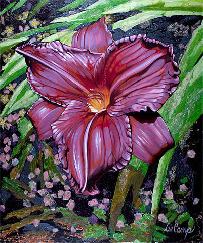 "Large Pink Daylily - Oil and mixed media on canvas 50""x60"""