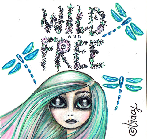 "Folding Card with Envelope-""Wild and Free Dragonflies Green Blue Pink Haired Girl"""